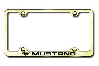 Autogold® - Laser Etched Mustang Logo on Wide Body Gold Metal Frame