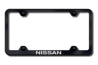 Autogold® - Laser Etched Nissan Logo on Wide Body Black Frame