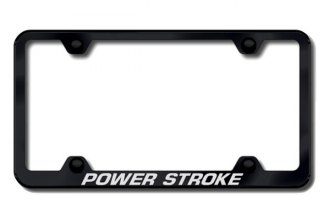 Autogold® - Powerstroke Logo on Black License Plate Frame