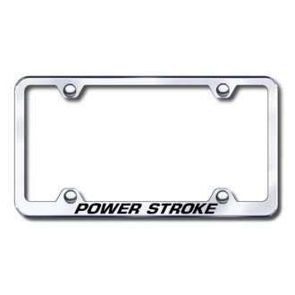 Autogold® - Laser Etched Powerstroke Logo on Chrome Metal Frame