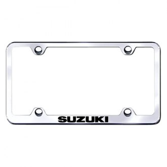 Autogold® - Wide Body Chrome License Plate Frame with Laser Etched Suzuki Logo