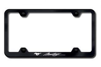 Autogold® - Mustang Logo on Black License Plate Frame