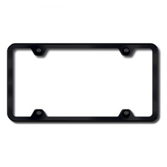 Autogold® - 4-Hole Thin Black ABS License Plate Frame