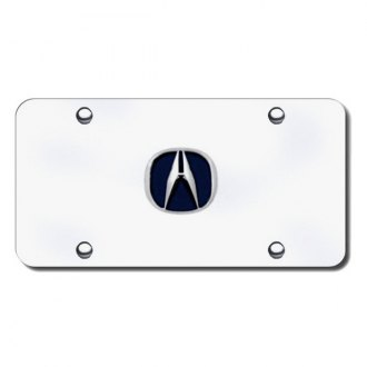 Autogold® - Acura Chrome and Blue Logo on Chrome License Plate