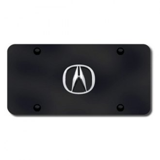 Autogold® - Acura Chrome Logo on Black License Plate