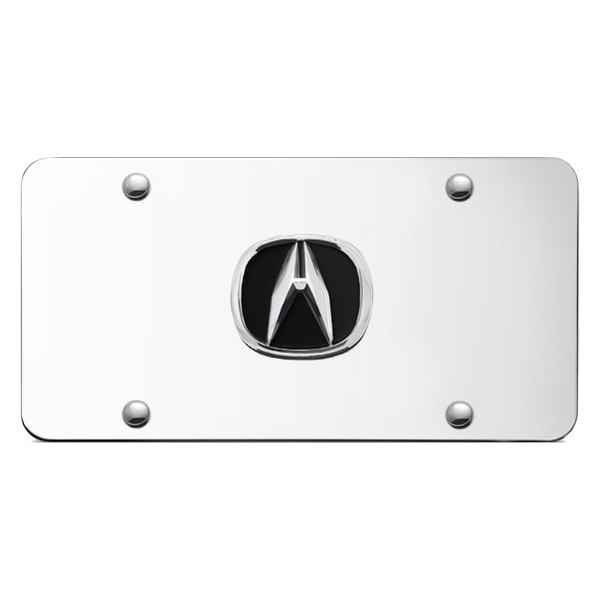 Autogold® - Acura Chrome Logo on Chrome License Plate