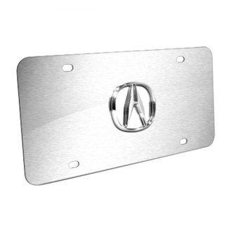 Autogold® - Acura Chrome Logo on Brushed License Plate