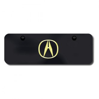 Autogold® - Gold Acura Logo on Black Mini Size License Plate