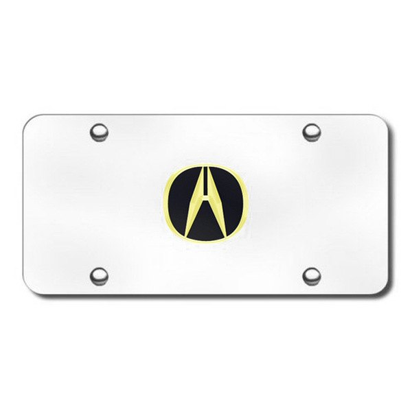 Autogold® - 3D Gold Acura Logo on Chrome License Plate