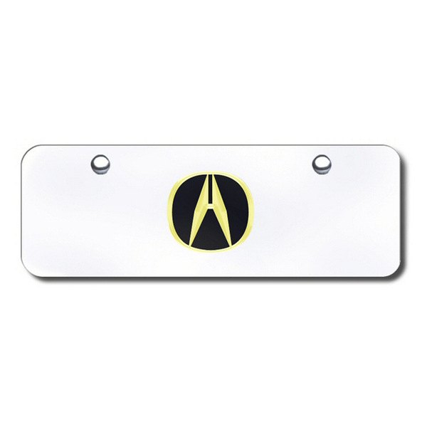 Autogold® - 3D Gold Acura Logo on Chrome Mini Size License Plate