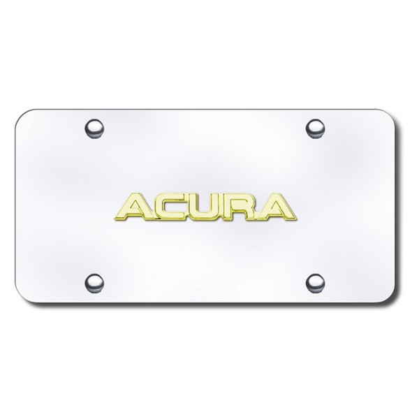Autogold® - 3D Gold Acura Name Logo on Chrome License Plate
