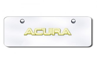 Autogold® - 3D Gold Acura Name Logo on Chrome Mini Size License Plate