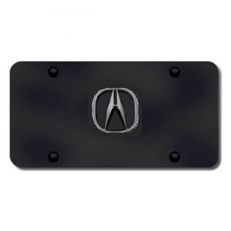 Autogold® - 3D Black Pearl Acura Logo on Black License Plate