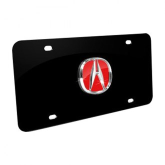Autogold® - Chrome/Red Acura Logo on Black License Plate