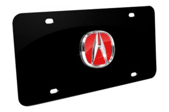 Autogold® - 3D Chrome/Red Acura Logo on Black License Plate