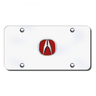 Autogold® - Acura Chrome and Red Logo on Chrome License Plate