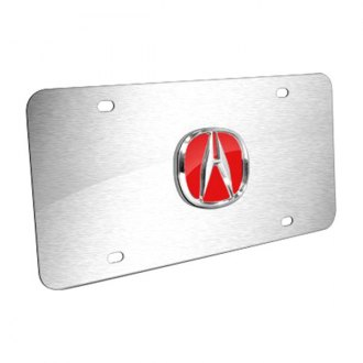 Autogold® - Acura Chrome and Red Logo on Brushed Stainless License Plate