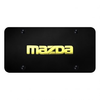 Autogold® - 3D Gold Mazda Logo on Black Acrylic License Plate