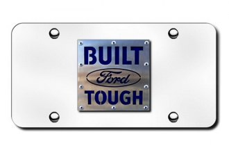 Autogold® - 3D Built Ford Tough Brushed Stainless on Logo on Chrome License Plate