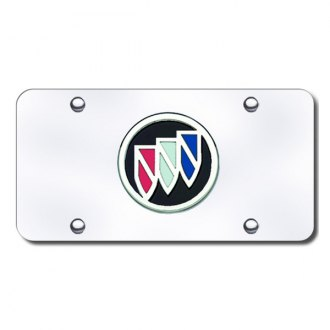 Autogold® - Buick Black and Chrome Logo on Chrome License Plate