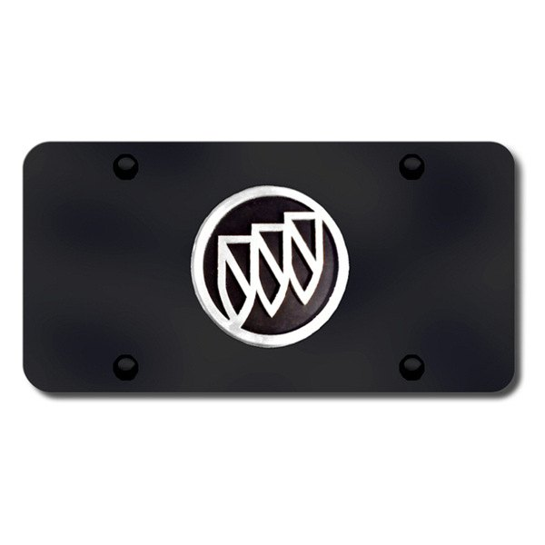 Autogold® - Buick Chrome and Black Logo on Black License Plate