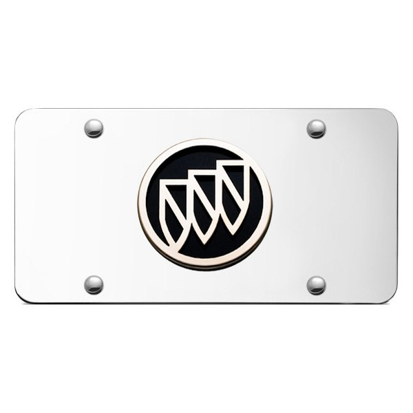Autogold® - Buick Chrome and Black Logo on Chrome License Plate