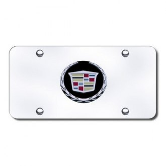 Autogold® - Cadillac Black and Chrome New Logo on Chrome License Plate