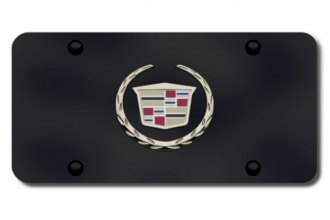 Autogold® - 3D Gold Cadillac New Logo on Black License Plate