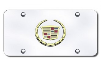 Autogold® - 3D Gold Cadillac New Logo on Chrome License Plate