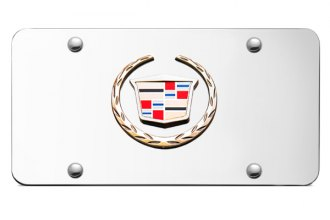 Autogold® - 3D Gold Cadillac New Logo on White License Plate