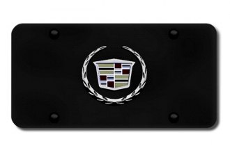 Autogold® - 3D Black Pearl Cadillac Logo on Black License Plate