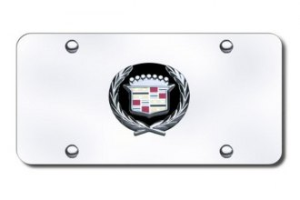 Autogold® - Cadillac Black and Chrome Logo on Chrome License Plate