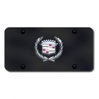 Autogold® - Cadillac Chrome Logo on Black License Plate