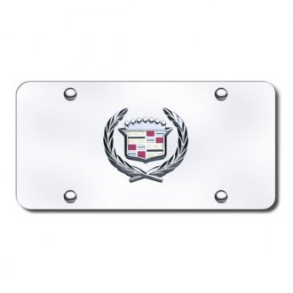 Autogold® - Cadillac Chrome Logo on Chrome License Plate