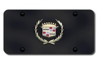 Autogold® - 3D Gold Cadillac Logo on Black License Plate