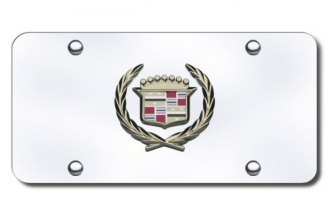 Autogold® - 3D Gold Cadillac Logo on Chrome License Plate