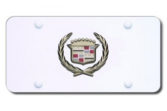 Autogold® - 3D Gold Cadillac Logo on White License Plate
