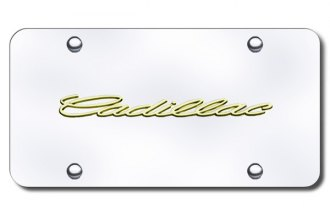 Autogold® - 3D Gold Cadillac Name Logo on Chrome License Plate