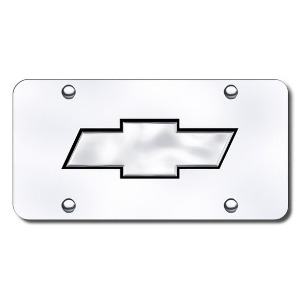 Autogold® - Chevy Black and Chrome New Logo on Chrome License Plate