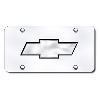 Autogold® - Chevrolet Black and Chrome New Logo on Chrome License Plate