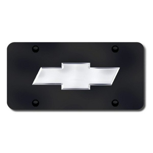 Autogold® - Chevy Chrome New Logo on Black License Plate