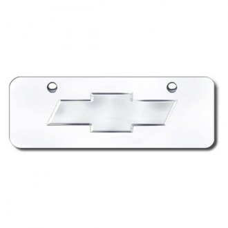 Autogold® - 3D Chrome Chevy Logo on Chrome Mini Size License Plate