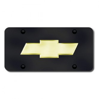 Autogold® - 3D Gold Chevy New Logo on Black License Plate