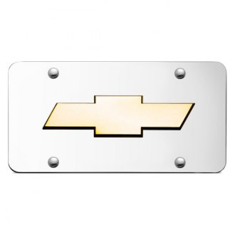 Autogold® - 3D Gold Chevrolet Logo on Chrome License Plate