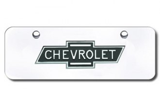 AutoGold� - 3D Chrome Chevy Logo on Chrome Mini Size License Plate