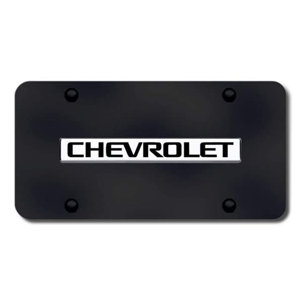 AutoGold� - 3D Chrome Chevy Logo on Black License Plate
