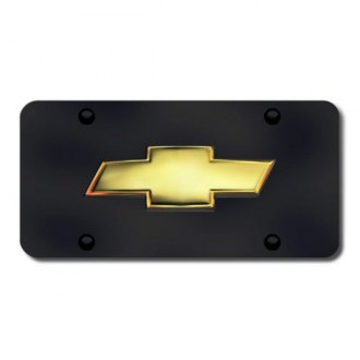 Autogold® - 3D OEM Chevy Logo on Black License Plate