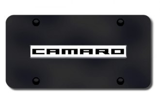 Autogold® - Camaro Logo on Black License Plate