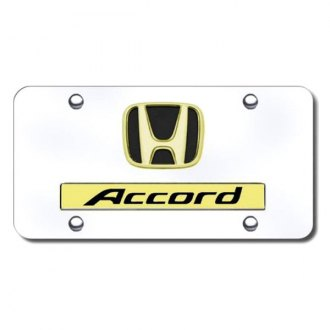 Autogold® - 3D Gold Accord Logo on Chrome License Plate
