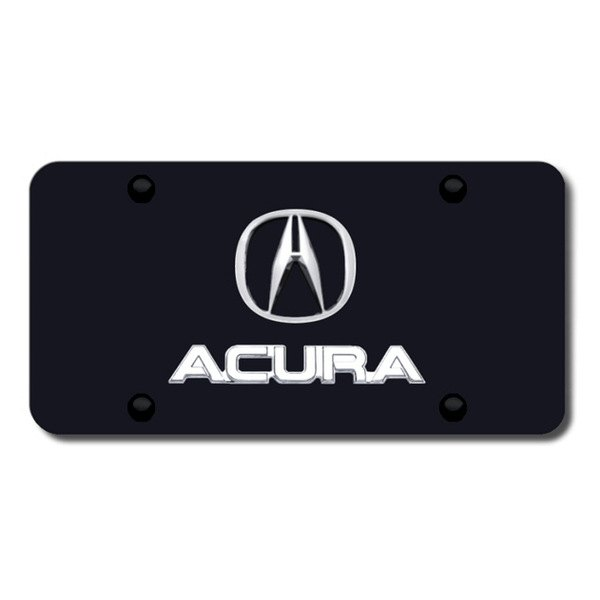 Autogold® - Acura Chrome Dual Logo on Black License Plate